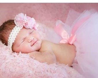 newborn baby girl sewn waist tutu with flower headband
