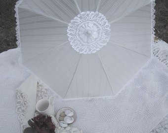Wedding Parasol, White Striped Translucent Parasol trimmed with White Lace