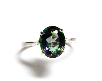 "Mystic topaz, rainbow ring, birthstone ring, solitaire ring, topaz ring green pink blue, s 7 1/4    ""Island Splash"""