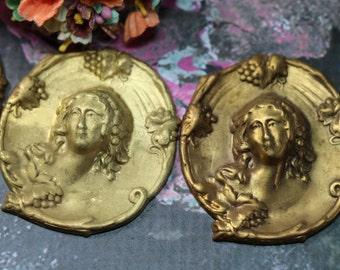 1 Vintage Brass Woman Stamping