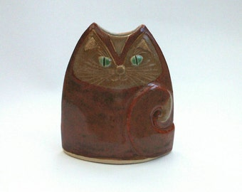 Cat Vase Unusual Handmade Pottery Vessel ginger brown