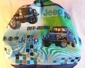 SassyCloth one size pocket diaper with Jeep off-road cotton print. Ready to ship.