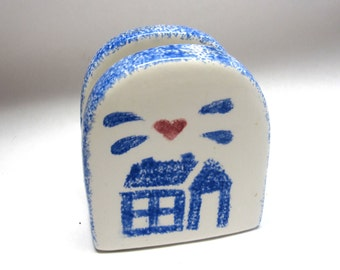 Napkin Letter Holder Blue White Farmhouse Ceramic