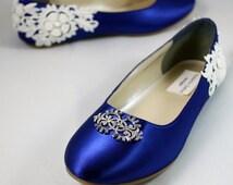 Royal Blue Wedding Flat -- Blue lace wedding flat