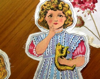 "Darling Sew-Me-Doll ~ Blonde girl holding little bear.  15"" x 6"""