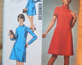 1970 Misses' A-Line Mad Men Dress, Simplicity 8909 Sewing Pattern, Size 16, 38 Bust