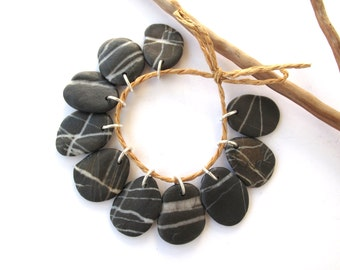 Beach Stone Beads River Stone Charms Rock Beads Diy Jewelry Drilled Mediterranean Natural Stone Beads Pairs STRIPED CHARMS 23-25 mm