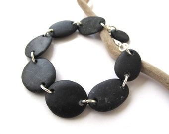 Rock Bracelet River Stone Jewelry Mediterranean Beach Stone Pebble River Rock Natural Stone Jewellery Black Silver NOIRE