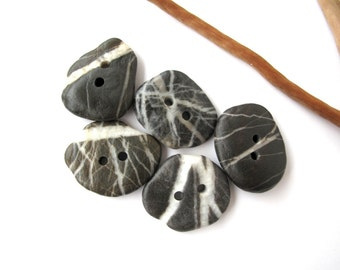 Buttons Stone Mediterranean Beach Rock Pebble Knitting Sewing Buttons Craft Findings STRIPED BUTTONS 25 mm