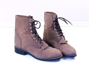 vtg 80s Fawn BROWN lace up ROPER BOOTS fringe 5.5 leather grunge western cowboy motorcycle punk