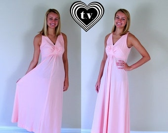 Half Off vtg 70s Pastel PINK empire MAXI DRESS xs/s open back peach boho Grecian goddess