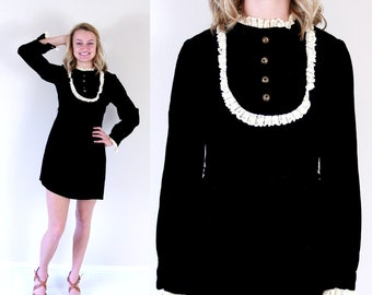 vtg 60s black velvet VICTORIAN mini BABYDOLL DRESS mod Small cream lace bib ruffles twiggy empire dolly goth tuxedo