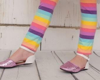 rainbow striped leggings