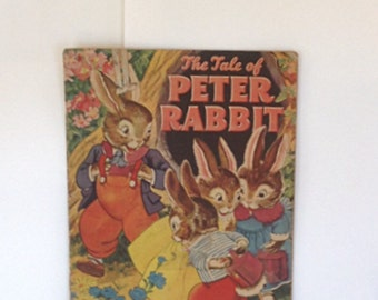 Vintage 1943 Tale of Peter Rabbit Childrens Book / Merrill Publishing Co. / Gorgeous Graphics / Easter / Spring