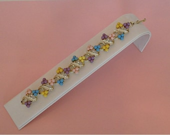 Vintage 1950s 50s Pastel Pink / Yellow / Blue / Lilac Bead Clustered / Link Bracelet / Easter / Spring / Summer Jewelry