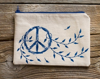 Hand Painted Peace Symbol Zipper Pouch in Navy and White, Natural Cotton Cosmetic Bag