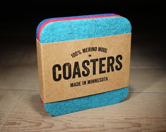 100% Merino Wool Felt Coasters - 5mm Thick German-milled Felt - Rich Lightfast Colors - Natural and Renewable - Blue, Turquoise, Red & Lilac