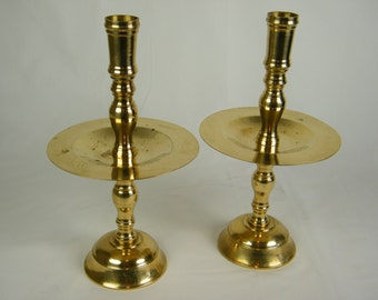 Large Brass Vintage Candlesticks - Solid Brass Candle Holders - Set of 2