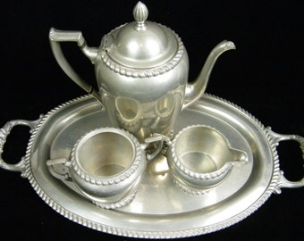 Tea Set Art Deco Vintage Pewter Tea Coffee Serving Set - Creamer set Serving Tray - Pilgrim Solid Pewter 2406 Tea Set