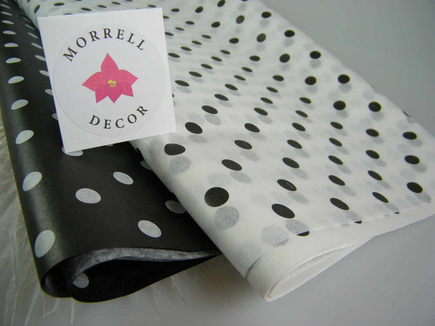 Polka dot party supplies black and white tissue sheets for Black and white polka dot decorations