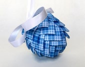 Blue and White Checkered Ribbon Pinecone Ornament Easter Egg