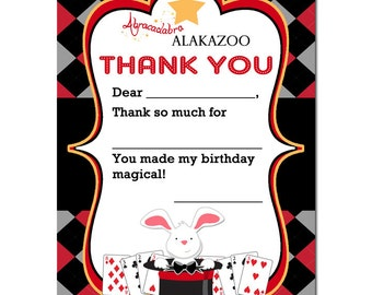 50% OFF SALE - Magic Party Thank You Note Printable - Instant Download - Abracadabra Top Hat Collection