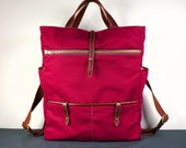Hudson Backpack in Maroon Twill and Brown Leather /Laptop Backpack / School Backpack