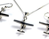 Cessna 172-182 Aviation Jewelry Sterling Silver Pendant Necklace Earrings