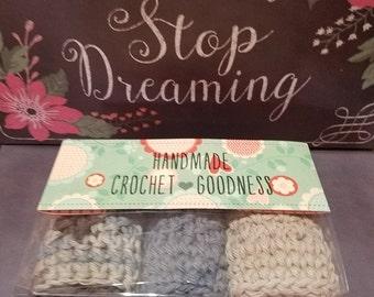Earth Tones Spa Set, Crochet  Washcloths, Crochet Face Scrubbers, Washcloths, Face Scrubbers, Dishcloths, Spa Set, Bath Set, Holiday Gift