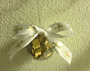 Gold with Cross Christmas Ornament