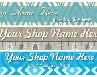 Large Etsy Facebook Cover Photo Ready Made Premade Blue Chevron Stripes Diamond Leaves Tan Pattern Etsy Shop Banner - You Pick One