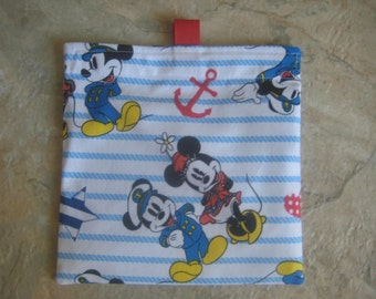 Mickey Mouse and Minnie Mouse - Reusable Sandwich Bag/Snack Bag with tabs