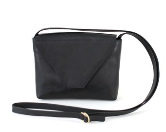 Minimalistic Crossbody Bag Black Leather, small satchel bag, yellow handbag