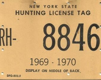 New York State Hunting License Tag 1969 - 1970
