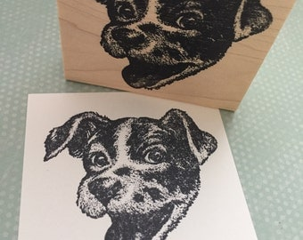 Happy Dog Face  Wood Mounted Rubber Stamp 4230