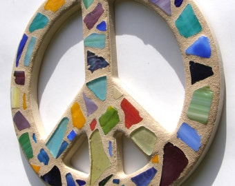 12 Inch Caribbean Colors Mosaic Stained Glass Peace Sign  Peace Sign Wall Art  Mosaic Art  Hippie  Decor  60's Retro Decor Tropical Decor