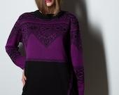 Purple black dress, tulip dress, tunic dress, jersey dress, warm dress, unique dress, ornament dress, sweater dress, handmade dress