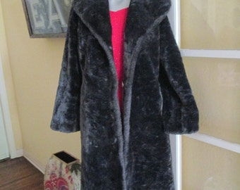 60s Faux Fur Women Coat / Dark Brown Long Coat Medium Large Beautiful