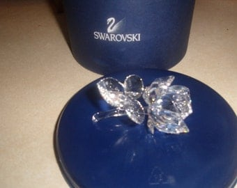 vintage swarovski crystal the rose with dewdrops flower with box