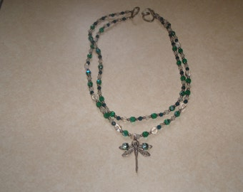 vintage necklace blue green white glass double strand silver tone dragonfly
