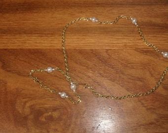 vintage necklace bracelet set goldtone chain faux pearls