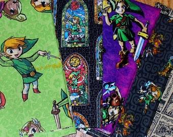 Legend of Zelda Fabrics / 5 Fat Quarters fabric / Nintendo Fabrics