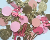 baby shower confetti toss, table toss glittery gold, peach and pink ( girl) font