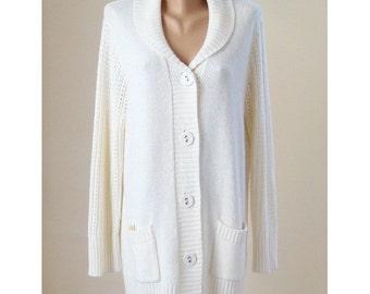 Vintage white long cardigan, classic knitted pockets coat, women long sleeve lace jacket, machine knitted soft acrylic vest, XXL 20 US 22 UK