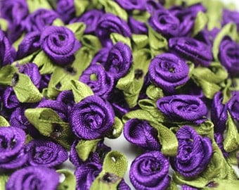 Purple Satin Ribbon roses w/leaves-12mm-25 PCS