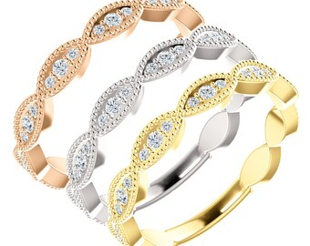 Diamond Ring Vintage Wedding Stackable Band Womens Anniversary 14K White, Yellow, Or Rose Gold Art Deco Antique