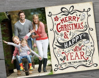 Modern Vintage Christmas Photo Card, Christmas Photo Cards PRINTABLE, Holiday Photo Card Digital, Christmas Photo Card Download