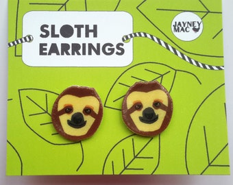 Sloth Earrings - Shrink Plastic Sloth Earrings
