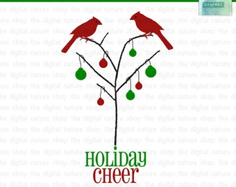 Christmas Holiday Bird in Tree - Cardinal Cheer - Digital Clip Art - INSTANT DOWNLOAD - for Invites, Crafts, Collage, Cards, Scrap Booking
