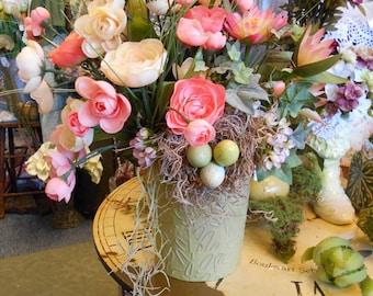 Spring Cream And Peach Flower Arrangment